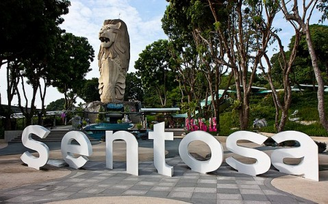 Statue of Merlion on Sentosa Island